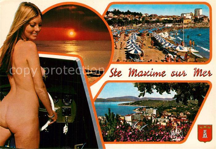 AK / Ansichtskarte Sainte_Maxime_sur_Mer_Var Strand Panorama Sonnenuntergang Badenixe Sainte_Maxime_sur_Mer_Var 0