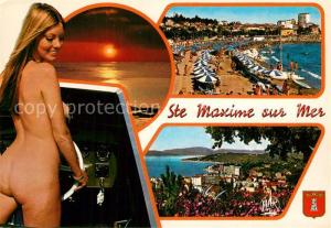 AK / Ansichtskarte Sainte_Maxime_sur_Mer_Var Strand Panorama Sonnenuntergang Badenixe Sainte_Maxime_sur_Mer_Var