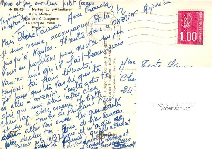 AK / Ansichtskarte Nantes_Loire_Atlantique Place Mellinet Place des Chataigniers Parc de Proce Place Zola des fleurs Nantes_Loire_Atlantique 1