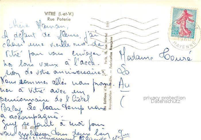 AK / Ansichtskarte Vitre_d_Ille et Vilaine Rue Poterie Vitre_d_Ille et Vilaine 1