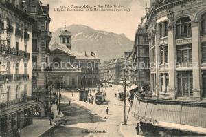 AK / Ansichtskarte Grenoble Rue Felix Poulat Eglise Saint Louis et le Moucherotte Grenoble
