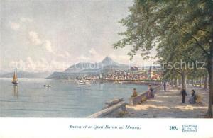 AK / Ansichtskarte Evian les Bains_Haute_Savoie Quai Baron de Blonay Dessin Kuenstlerkarte Evian les Bains_Haute