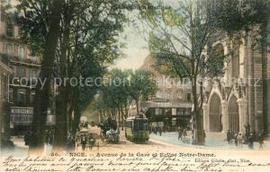 AK / Ansichtskarte Nice_Alpes_Maritimes Avenue de la Gare Eglise Notre Dame Nice_Alpes_Maritimes