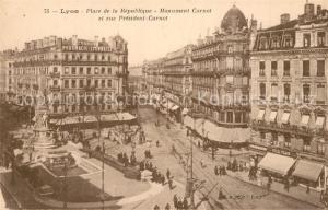 AK / Ansichtskarte Lyon_France Place de la Republique Monument Carnot et rue President Carnot Lyon France