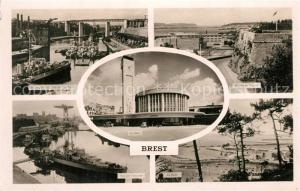 AK / Ansichtskarte Brest_Finistere Fregates au Pont de l'Harteloire La Gare Vue sur l'Arsenal La Rade Entree du Goulet Brest_Finistere