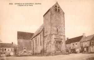 AK / Ansichtskarte Epineu le Chevreuil Eglise et la Place Epineu le Chevreuil