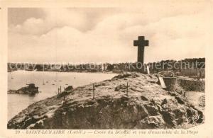 AK / Ansichtskarte Saint Lunaire Croix du Decolle et vue d'ensemble de la Plage Saint Lunaire