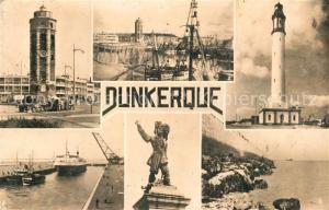 AK / Ansichtskarte Dunkerque Place du Minck Vue d'ensemble Le Phare Le Port Statue de Jean Bart La Jetee Dunkerque