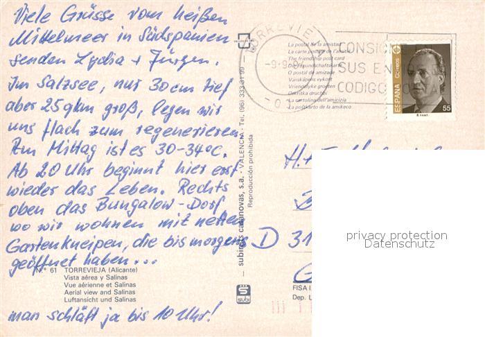 AK / Ansichtskarte Torrevieja Fliegeraufnahme Torrevieja 1