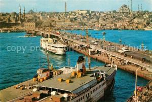 AK / Ansichtskarte Istanbul_Constantinopel Galata Bruecke Moschee Sueleymaniye Istanbul_Constantinopel