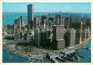 AK / Ansichtskarte Manhattan_New_York Fliegeraufnahme Bustling lower Manhattan_New_York