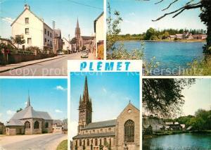 AK / Ansichtskarte Plemet Route de Rennes Etang de l Aunay Guen Chapelle Saint Lubin Eglise et le Vaublanc Plemet