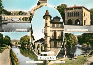 AK / Ansichtskarte Figeac Pont sur le Cele Hotel de la Monnaie XIVe siecle Quais Jardin Public Maison de Sisteron Plage de Prentgarde Figeac