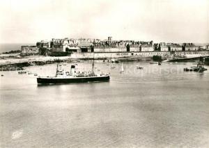 AK / Ansichtskarte Saint Malo_Ille et Vilaine_Bretagne Vue generale de la Cite Corsaire Port Bateaux vue aerienne Saint Malo_Ille et Vilaine