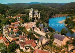 Montfort Vue generale aerienne de Montfort avec son celebre Chateau et la Dordogne Montfort