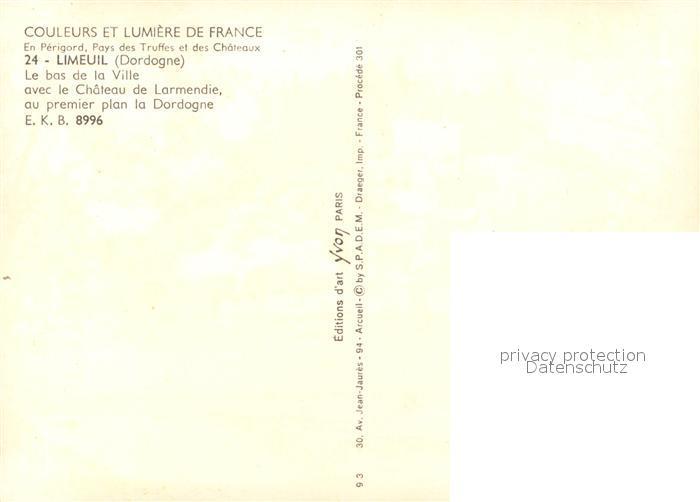 Limeuil Le bas de la Ville avec le Chateau de Larmendie au premier plan la Dordogne Limeuil 1