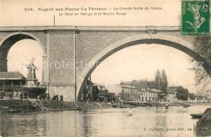 AK / Ansichtskarte Le_Perreux sur Marne Grande Arche du Viaduc Quai de Halage Moulin Rouge Le_Perreux sur Marne