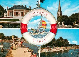 AK / Ansichtskarte Ares La Mairie Eglise Jetee Plage Rettungsring Segelboot Ares