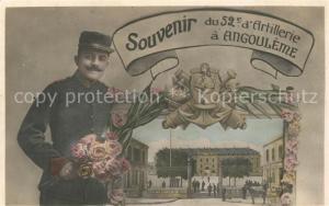 AK / Ansichtskarte Angouleme Souvenir du 52e d Artillerie Caserne Soldat Angouleme