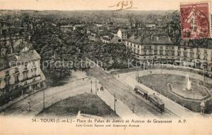 AK / Ansichtskarte Tours_Indre et Loire Place du Palais de Justice et Avenue de Grammont Tours Indre et Loire