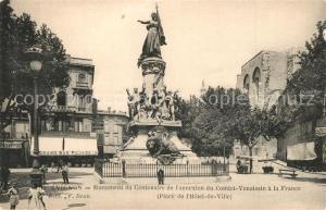 AK / Ansichtskarte Avignon_Vaucluse Monument du Centenaire de l`annexion Hotel de Ville Avignon Vaucluse