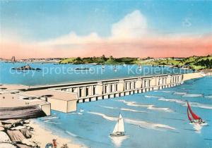 AK / Ansichtskarte Saint Malo_Ille et Vilaine_Bretagne Barrage de l usine maremotrice de la Rance Illustration Saint Malo_Ille et Vilaine