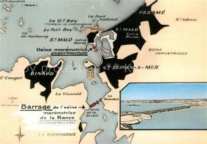 AK / Ansichtskarte Saint Malo_Ille et Vilaine_Bretagne Barrage de l usine maremotrice de la Rance Carte Illustration Saint Malo_Ille et Vilaine