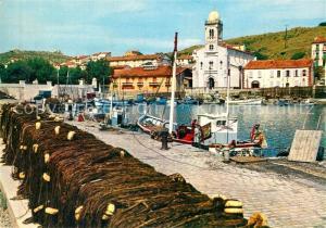 AK / Ansichtskarte Port Vendres Port de pecheurs Bateaux de peche Eglise Port Vendres