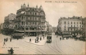 AK / Ansichtskarte Beziers Place de la Republique Avenue Beziers