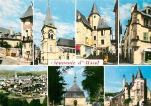 AK / Ansichtskarte Ussel_Cantal Vieille Rue Eglise Tour des Gregoire Maison a tourelle Vue generale ND de la Chabanne Maison des Ventadour Ussel Cantal
