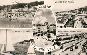 AK / Ansichtskarte Trouville Deauville La Plage et la Piscine Les Yachts Vue generale sur les Quais Trouville Deauville
