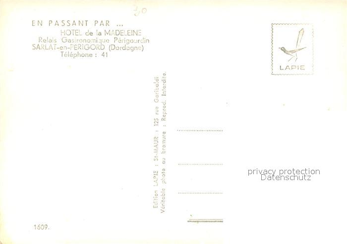 AK / Ansichtskarte Sarlat en Perigord Hotel de la Madeleine  Sarlat en Perigord 1