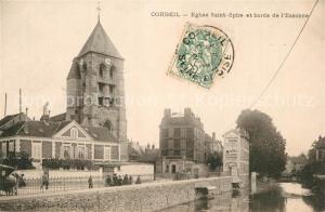 AK / Ansichtskarte Corbeil Essonnes Eglise Saint Spire et bords de l Essonne Corbeil Essonnes