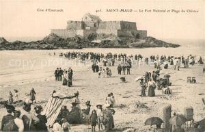 AK / Ansichtskarte Saint Malo_Ille et Vilaine_Bretagne Fort National Plage du Chateau  Saint Malo_Ille et Vilaine