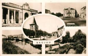 AK / Ansichtskarte Saujon Etablissement Thermal Place de la Mairie Pont de Riberou Rue de la Seudre Place de l Eglise Saujon