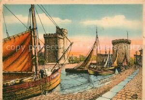 AK / Ansichtskarte La_Rochelle_Charente Maritime Quai et entree du port tours Dessin Kuenstlerkarte La_Rochelle