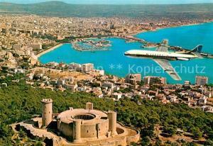 AK / Ansichtskarte Palma_de_Mallorca Vista aerea de la ciudad Castillo de Beliver Avion Palma_de_Mallorca