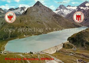 AK / Ansichtskarte Silvrettasee Fliegeraufnahme mit Staumauer Piz Buin Silvrettasee