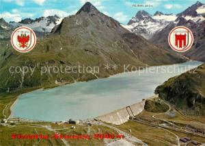 AK / Ansichtskarte Silvrettasee Fliegeraufnahme mit Staumauer Silvrettasee
