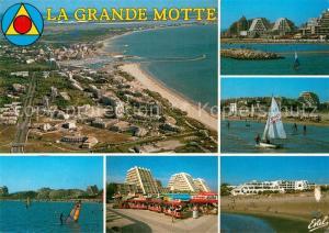 AK / Ansichtskarte La_Grande Motte Vue generale aerienne Les plages de l'Epi et de La Motte du Couchant Le petit train La_Grande Motte