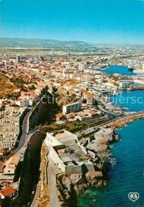 AK / Ansichtskarte Sete_Cette Vue panoramique aerienne sur le Theatre de la mer le cimetiere marin la Consigue et la ville