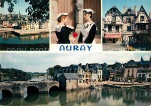 AK / Ansichtskarte Auray Les vieilles maisons le quartier Saint Goustan et jeunes filles en costume de la region Auray