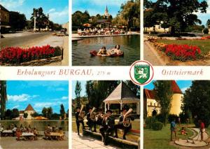 AK / Ansichtskarte Burgau_Steiermark Hauptplatz Mariensaeule Badestrand Pfarrkirche Marktplatz Strandbad Schloss Musikkapelle Musikpavillon Minigolf Burgau_Steiermark