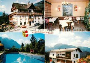 AK / Ansichtskarte Birnbaum_Lesachtal Gasthof Post Swimming Pool Alpen Birnbaum_Lesachtal