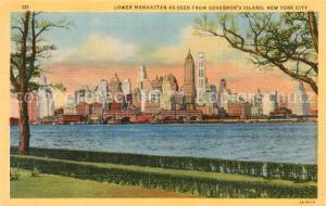 AK / Ansichtskarte New_Orleans_Louisiana Lower Manhattan as seen from Governor s Island Litho