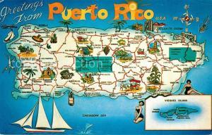 AK / Ansichtskarte Puerto Rico Landkarte Insel Puerto Rico