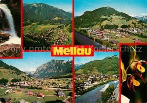 AK / Ansichtskarte Mellau_Vorarlberg Panorama Bregenzerwald Wasserfall Pflanzen Frauenschuh Mellau_Vorarlberg