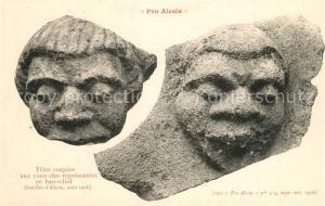 AK / Ansichtskarte Alesia(Roman War)_Alise Sainte Reine Tetes coupees aux yeux clos representees en bas relief