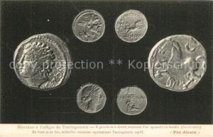AK / Ansichtskarte Alesia(Roman War)_Alise Sainte Reine Monnaies a l'effigie de Vercingetorix A gauche et a droite monnaie d'or agrandie au double