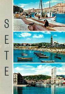 AK / Ansichtskarte Sete_Cette Ravaudage de filets La Corniche La plage du Lazaret Le Quai Pasteur et le Mont St Clair